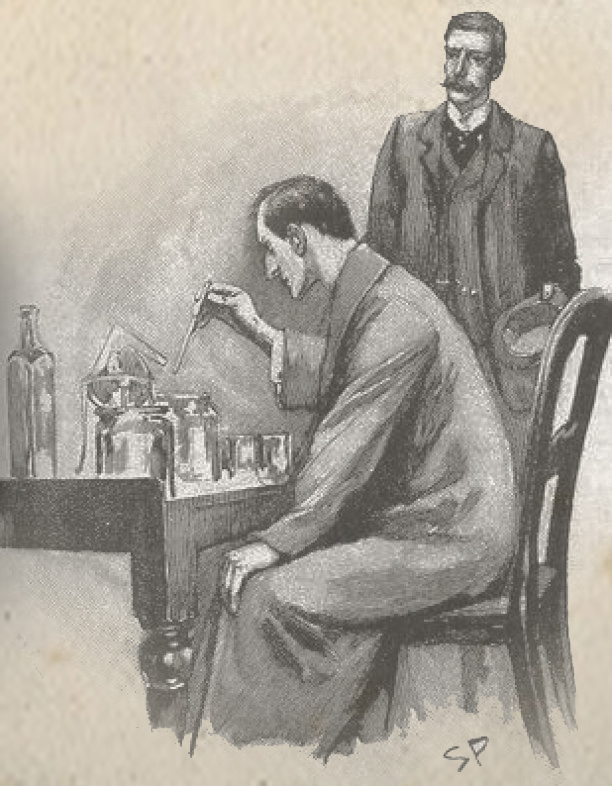Sherlock-Holmes-Experimenting-Watson-by-Sidney-Paget-1893
